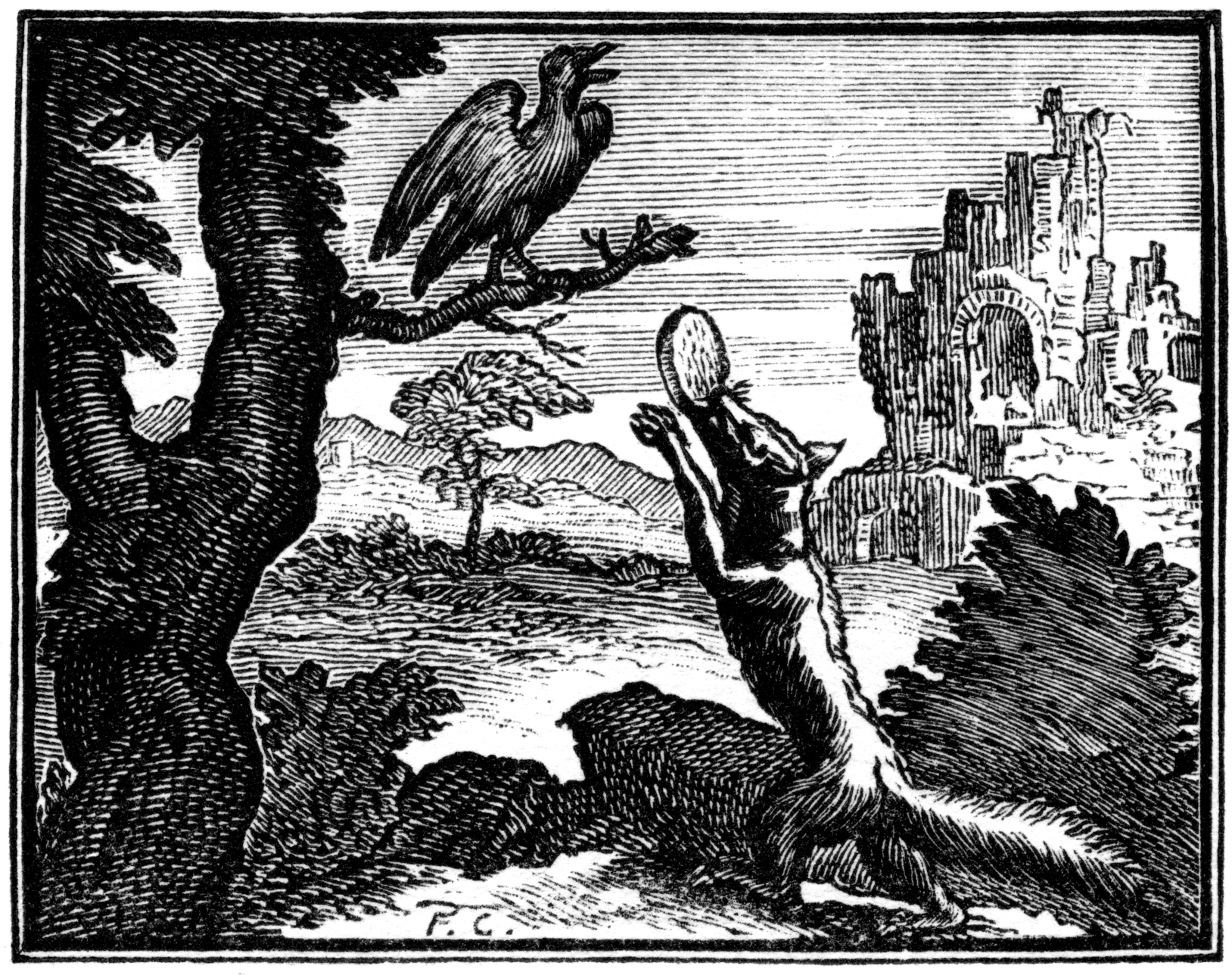 Le corbeau et le renard po sies de notre enfance - Le renard et la cigogne dessin ...